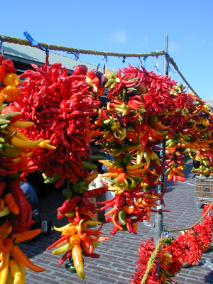 Strings of Drying Hot Peppers