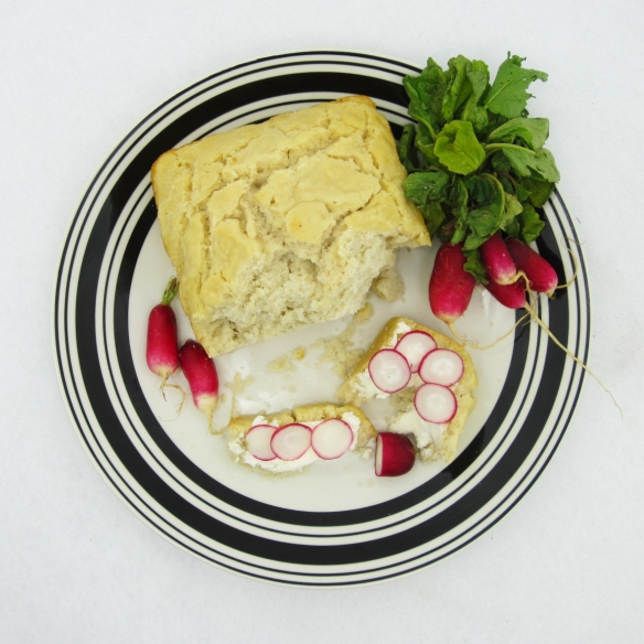 Beer Bread with Chevre and Radish